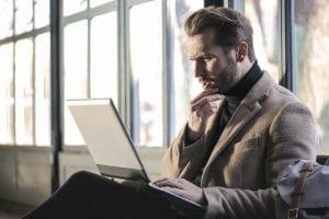Man using laptop.